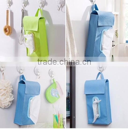 Hot selling waterproof oxford cloth hanging tissue box cover/car tissue box cover