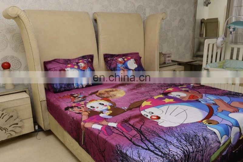 Doraemon Baby Themes Cotton Double Bedsheet with Pillow Cover