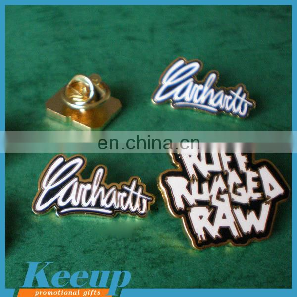Imprinted gifts cheap Customized printing epoxy or soft enamel word souvenir metal badge
