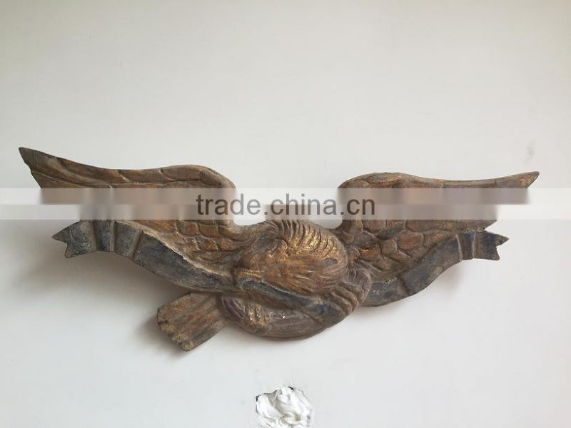Antique wooden carving eagle wall relief decoration