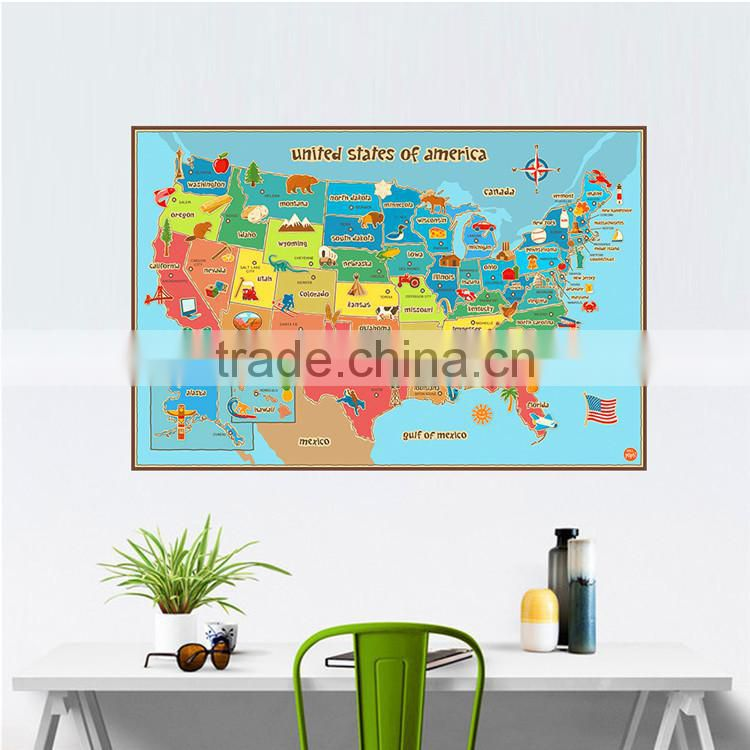 removable wall sticker USA America states colorful animal map wall decor animals fruits paint craft paper living room bedroom st