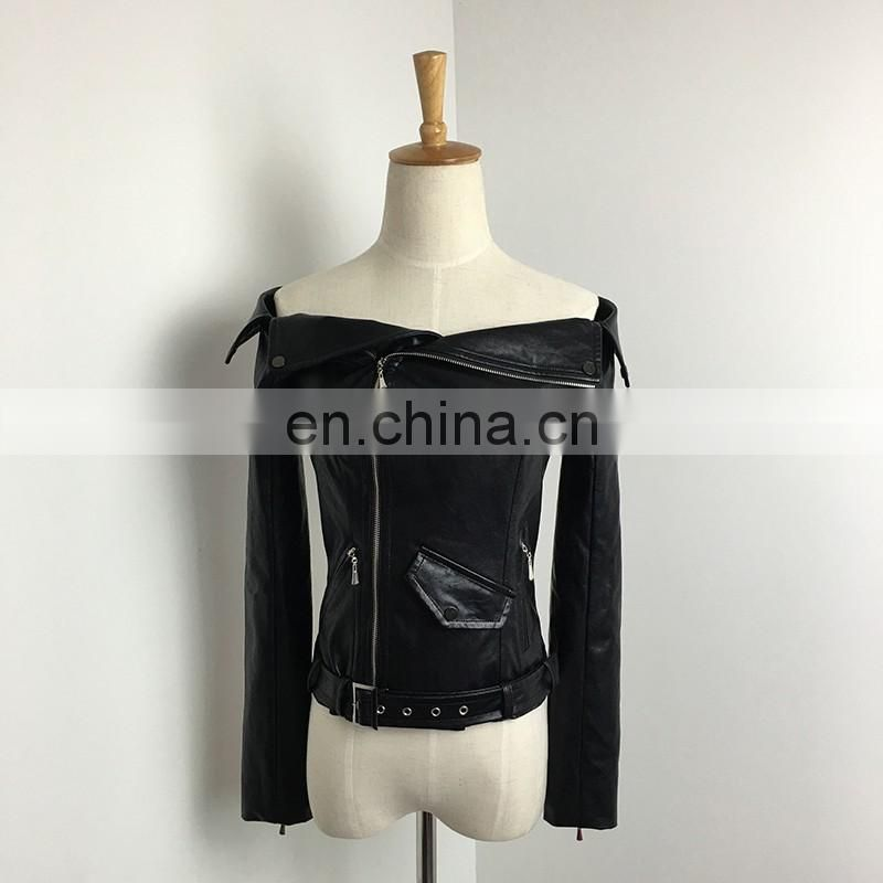 China Supplier Girls Fashion Dew shoulder Naturel Genuine Sheepskin Leather
