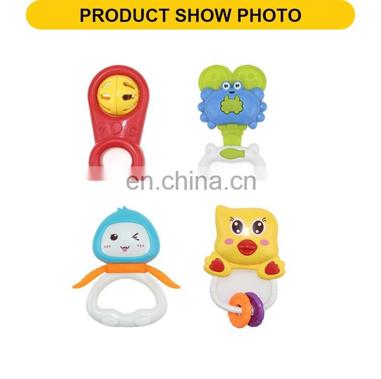 Hot sale plastic funny baby toy tambourin the musical mini rattle(4pcs)