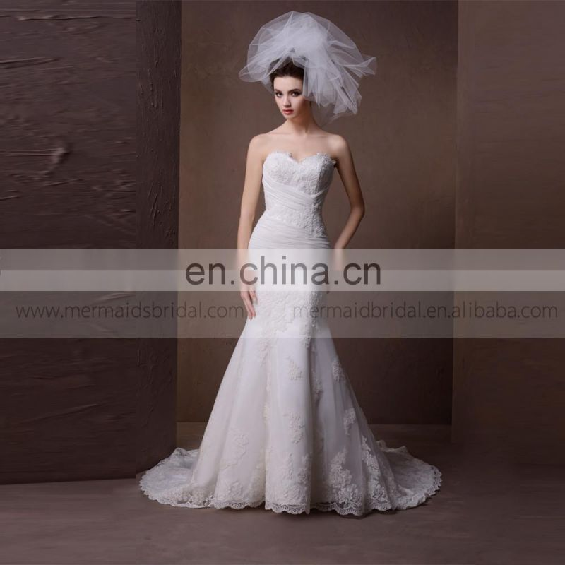 Elegant Fish Style Sweet Heart Sexy Back Lace Wedding Dress With Delicate Tiny Pleated Work