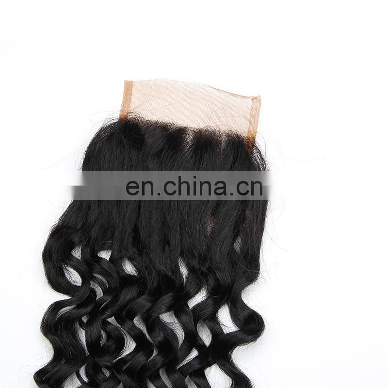 Large stock Brazilian hair 4x4 silk base lace closure 1b blonde 613 color deep wave curly hair closure