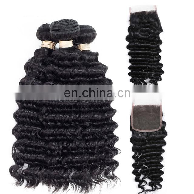Deep wave bundles with closure mongolian hair extensions