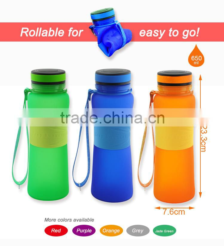 650ml 22oz Best quality Sport Drink Bottle Foldable silicone water bottle with popular lid Platinum silicone BPA free LFGB