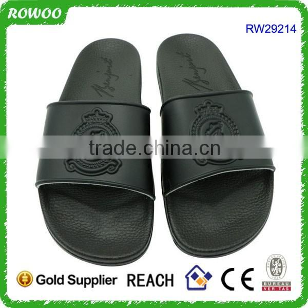 Fashion Black PU injection sandals slipper matching clothes and Hat