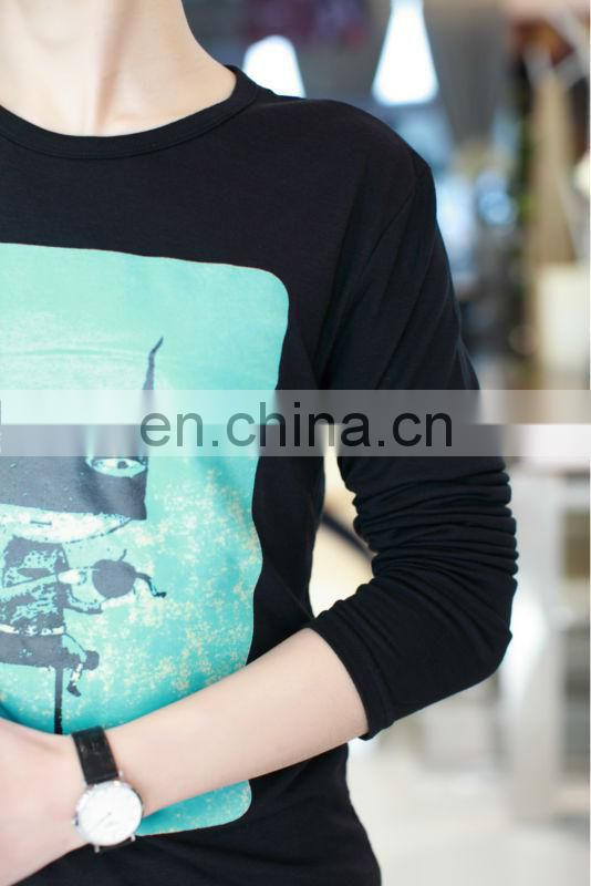 Latest Design Peijiaxin Casual Style Long Sleeve Cat Printed Man T shirt