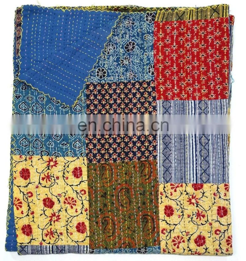Ajrakh Block Print Kantha Patchwork Kantha Quilt Hand Block Print Fabric Indigo Print Multi Colour Bed Cover