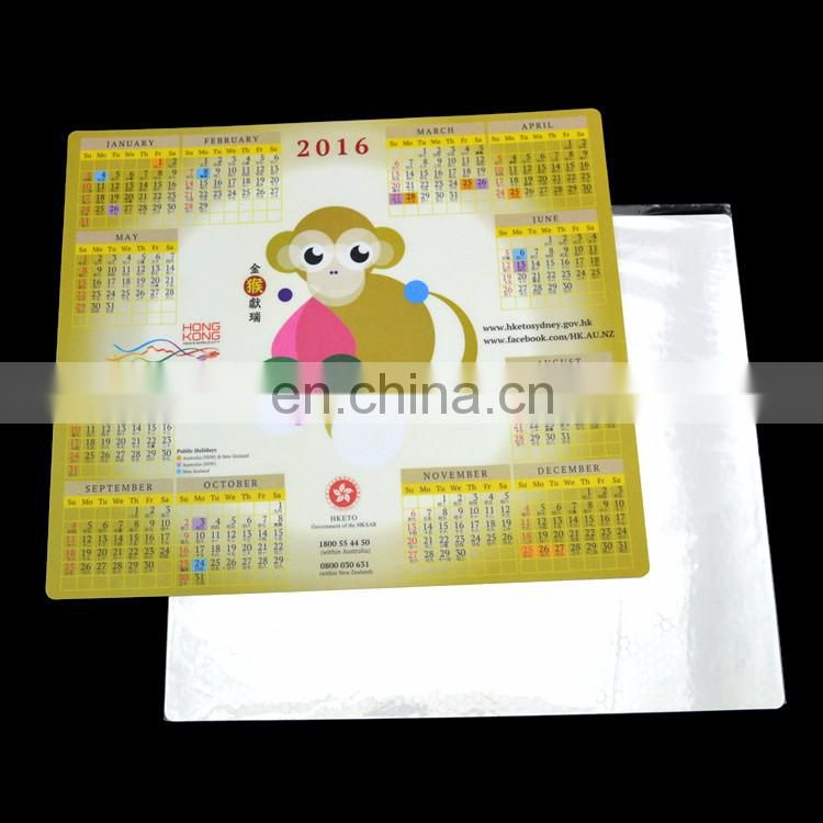 Custom calendar design printed ultra thin round corners game mouse pad