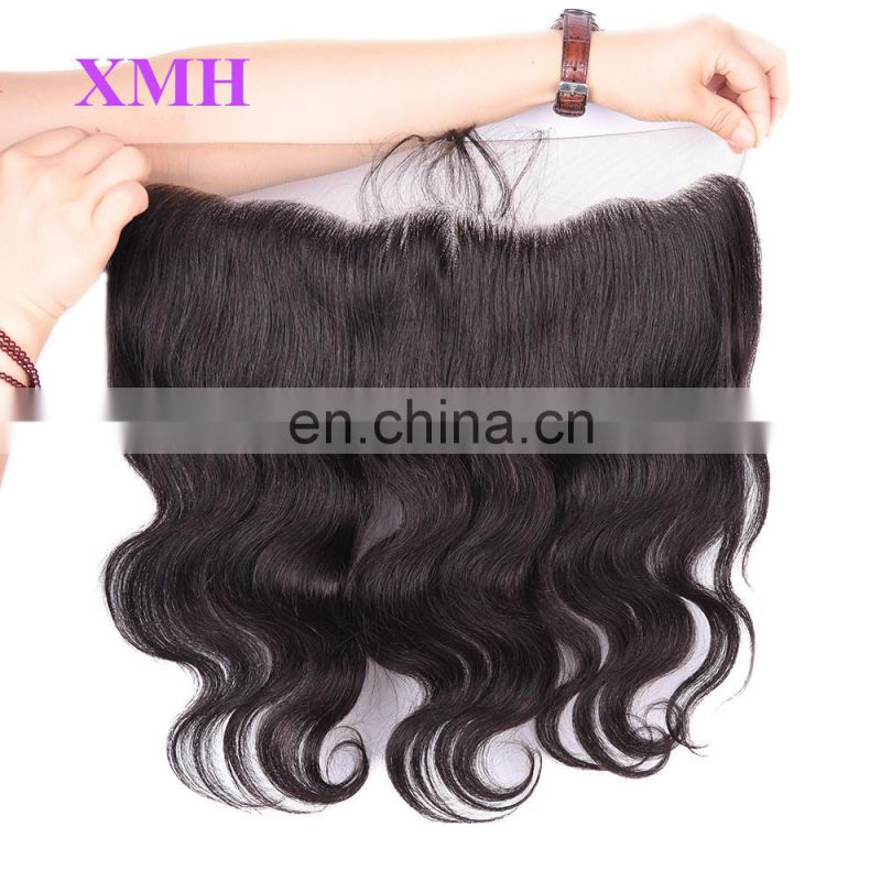 "Top Grade Natural Remy Hair Full Frontal Closure 13x4"" Deep Wave Ear to Ear Lace Frontals with Baby Hair"