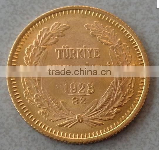 Replica Commemorative gold coin collection 1 oz Turkey fake gold bullion 100 Kurush Ataturk With Thick Gold Plated