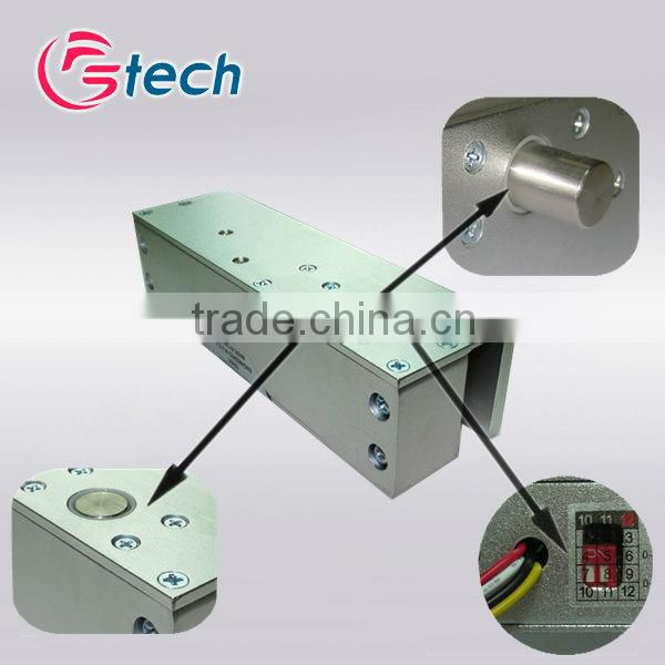 Electric bolt with magnetic feature for fully frameless glass door
