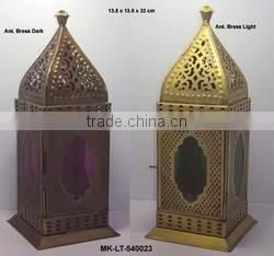 golden glass & metal antique lantern