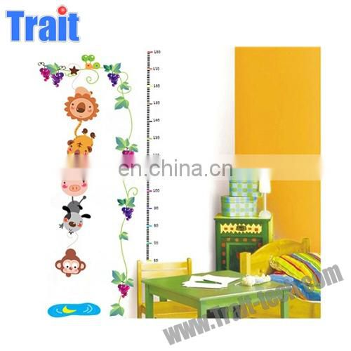 Wholesale Cute Animals Design Kids Height Design Measure PVC Wall Stickers for Kids Nursery Room