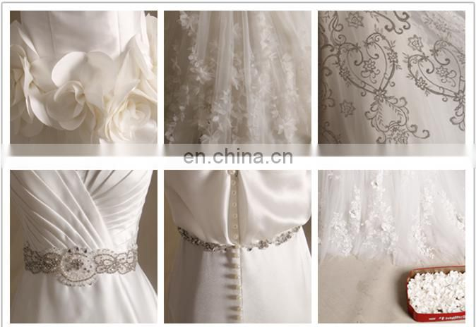 long sleeve high neck lace new ruffle wedding dress