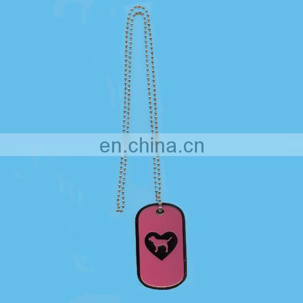 custom engraved stainless steel QR code barcode dog tag with ballchain and rubber silencer