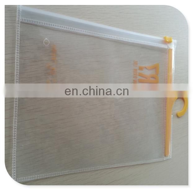 2017 hot sale clear PVC hook bag with zipper