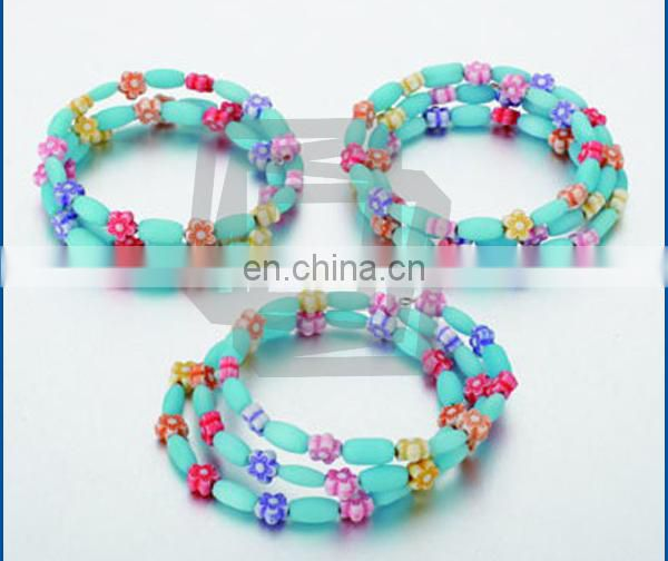 Blue Plastic Flower Bracelet Beads With Pendant