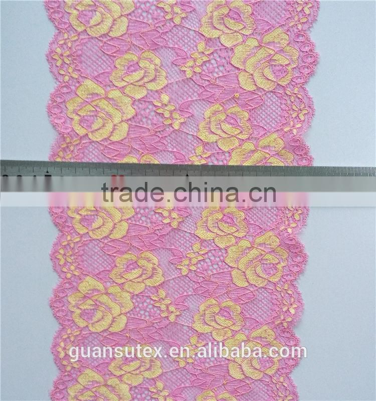 Gold French Chantilly Trimming, Tokay Trimming Lace For Textile/Apparel/Underwear