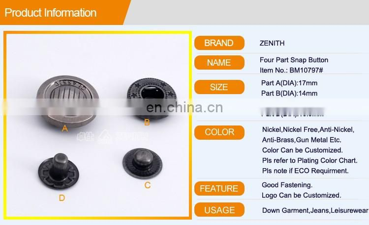 Zinc Alloy Cap Snap Buttons BM10797