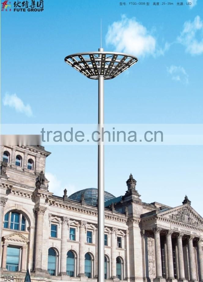 Customized octagonal 15~35 meter ultra brightness high mast lighting with LED lamps or HPS lamps & auto lifting system