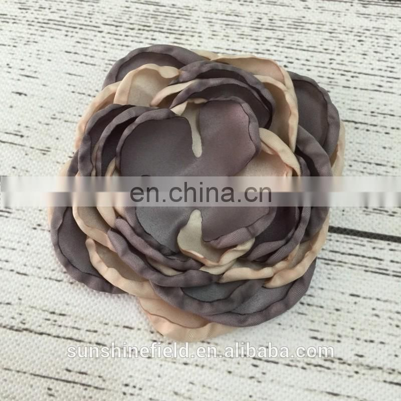 2 color burnt edges flowers satin flowers with grilled side handmade flower