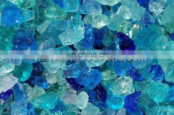 Turquoise glass rock for gabion