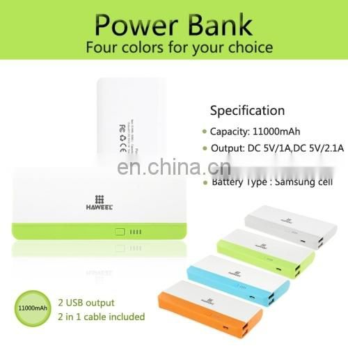 HAWEEL 11000mAh Dual Ports USB External Battery Portable Charger Power Bank for iPhone
