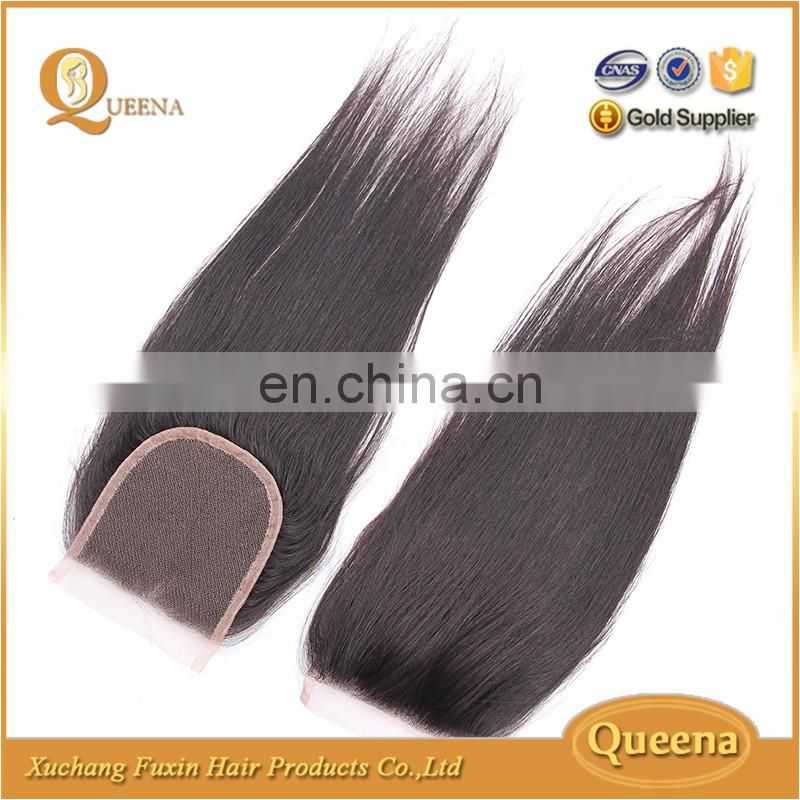 Free parting 3 part silk base human hair cheap lace closure