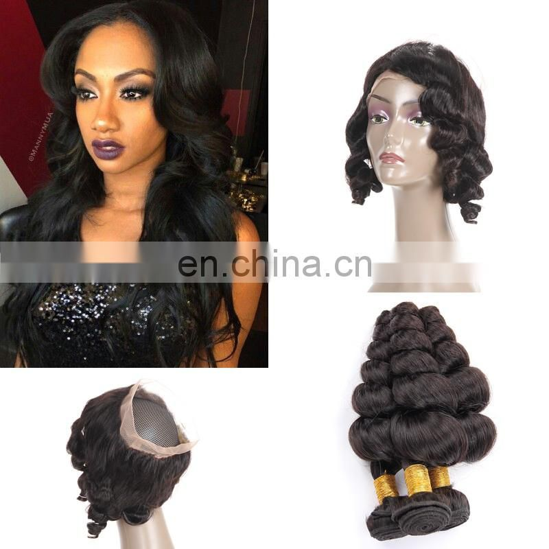 raw indian unprocessed virgin hair silk base 360 lace frontal closure with bundles
