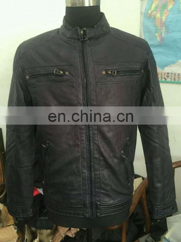 STOCK LOT -Men's Faux Leather Long sleeve Stand collar imitation Leather Jacket Garment Dye