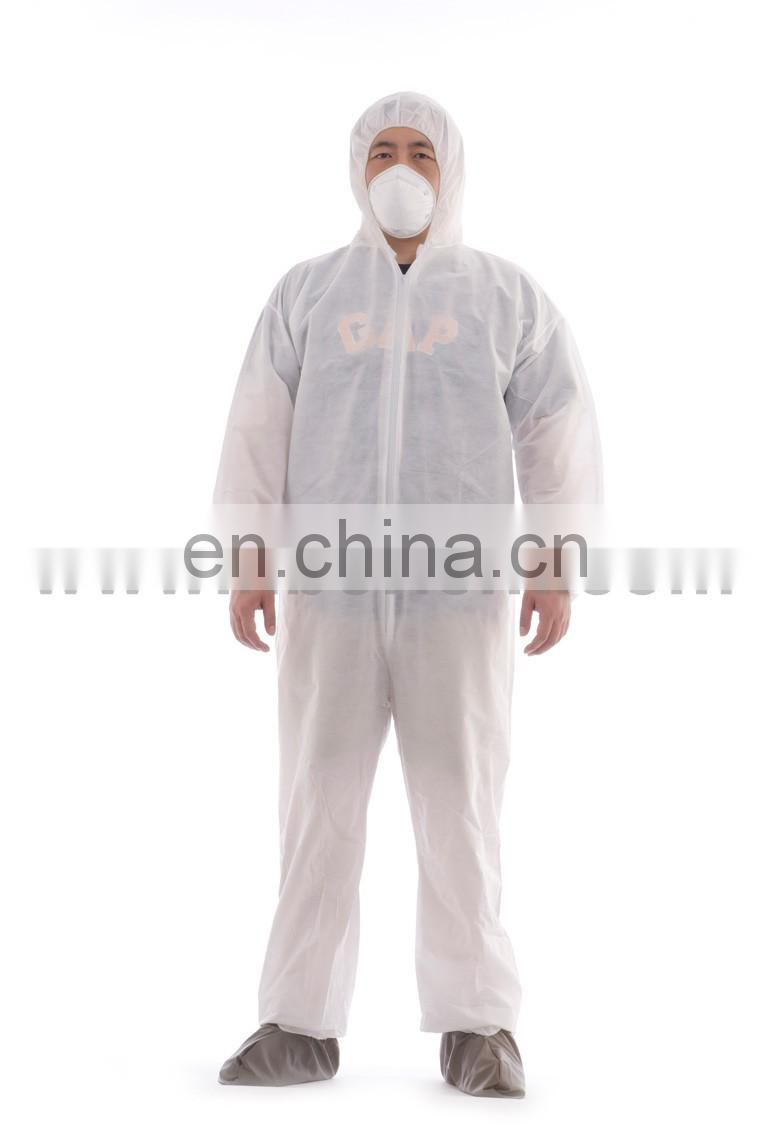Polypropylene disposable cleanroom coverall with hood and boots