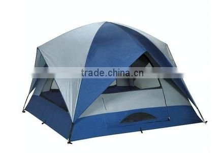 Three window 4 side flysheet double layer 3-4 person family travel tent bench tent