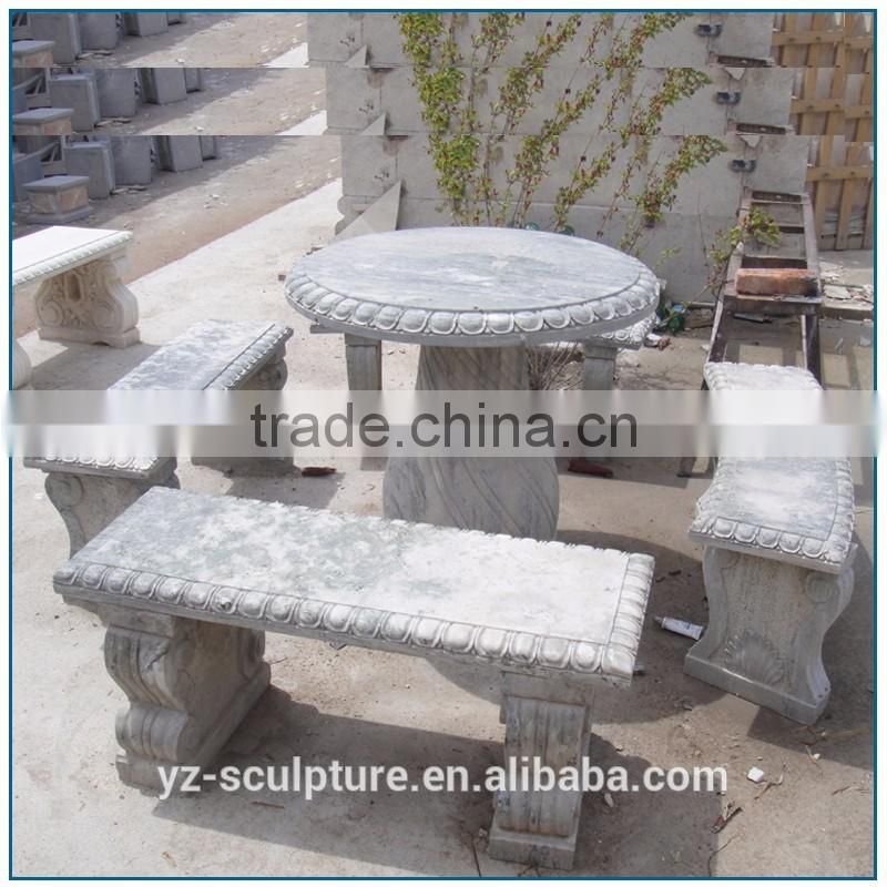 Outdoor garden antique marble table and beach for sale
