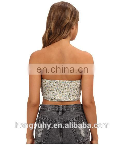 Tight Sexy Lady's Strapless Lace Big boob Bandeau Bra Tube Top from Dongguan Clothing