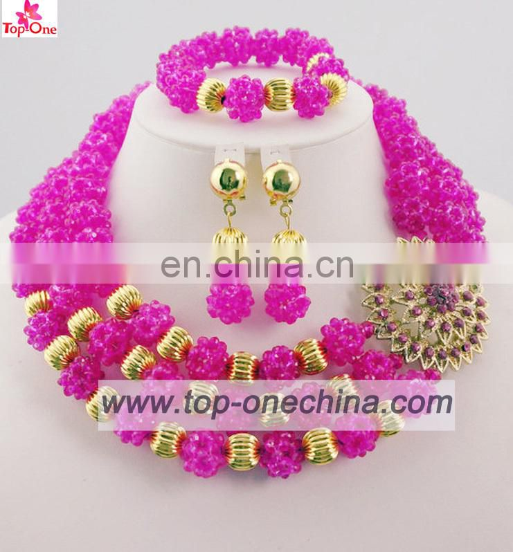Nigeria beaded jewelry setAfrican wedidng necklaceFushia color jewerly set for lady