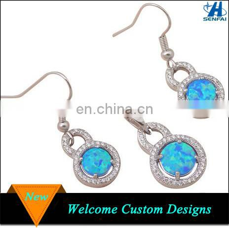 Fashion Jewelry Sets 2016 Silver Blue Naturel Druzy Agate Earring Sets Image