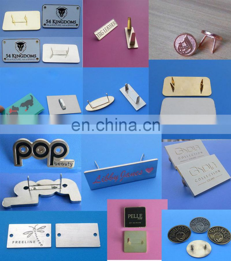 cusom printed band logo aluminium plates label for furniture/ bag