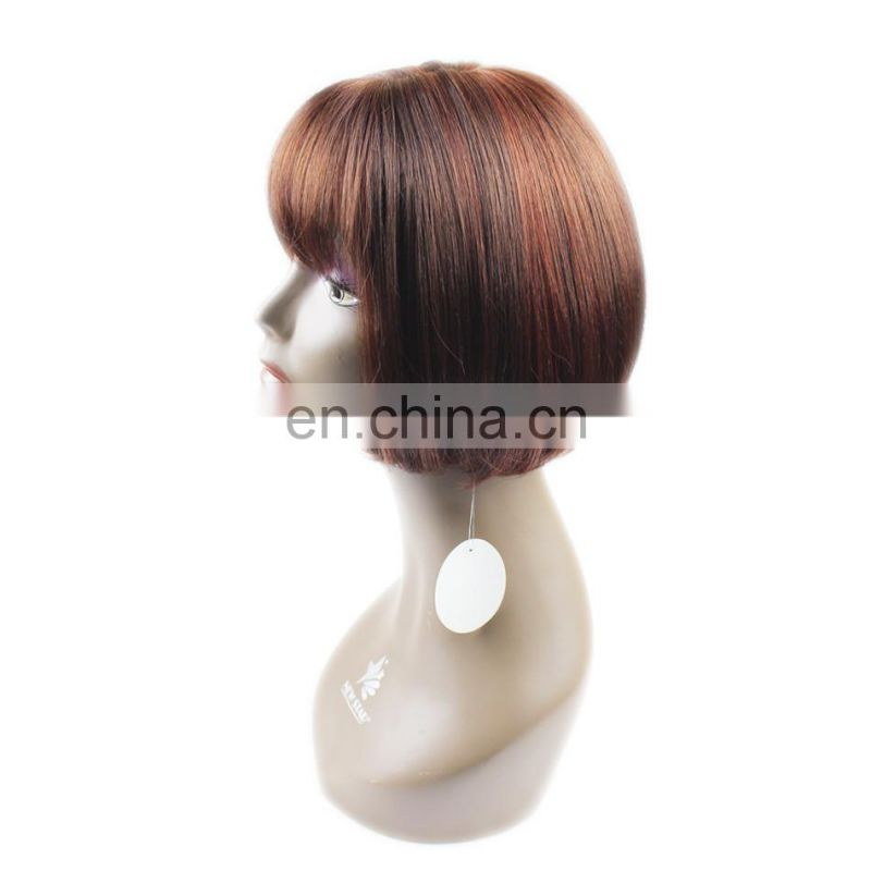 factory direct natural ombre looking silk straight wave 100% virgin brazilian human hair wig with bangs for black women