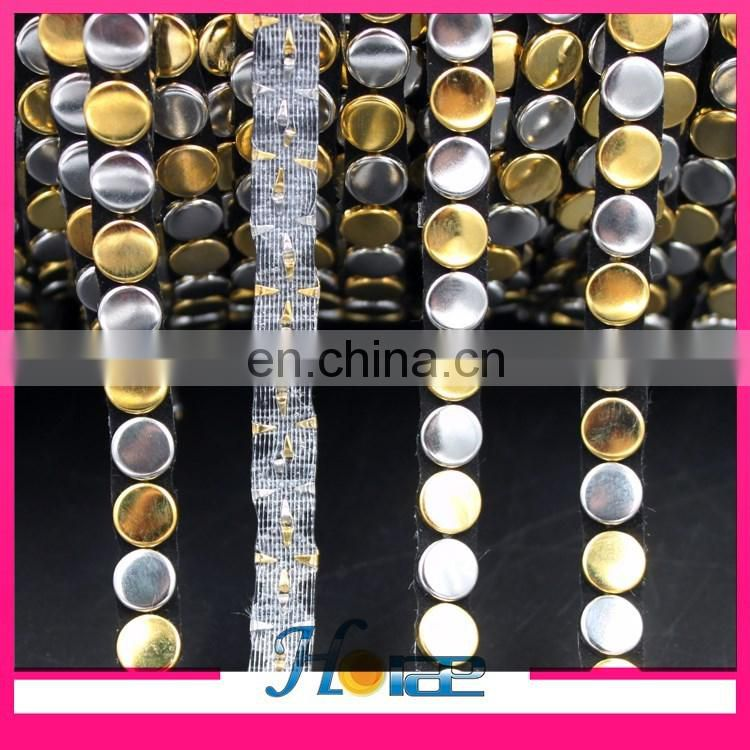 8mm width brass trim silver and gold color hot fix metal sandals chain