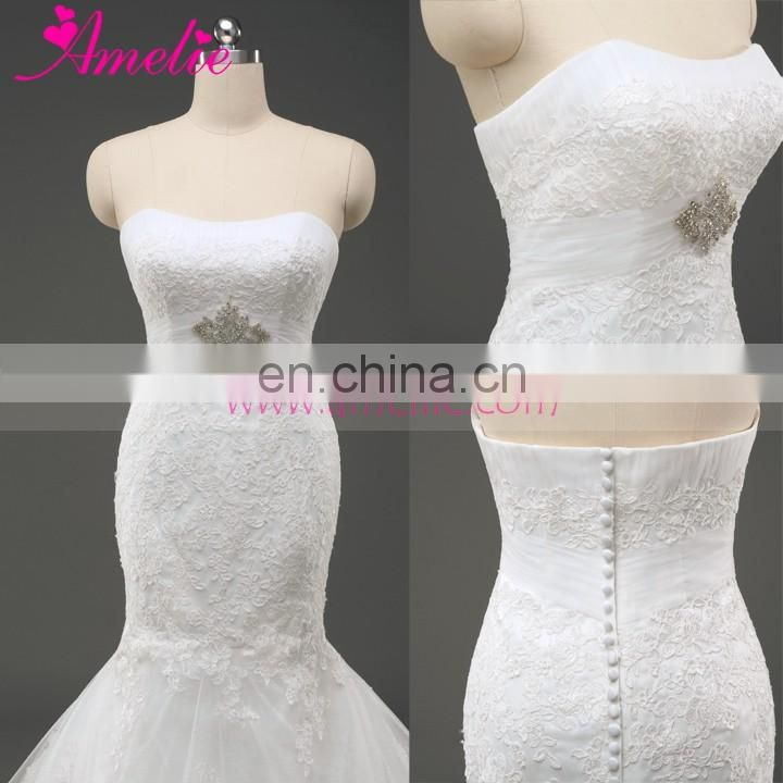 Ivory Lace Applique 2016 New Mermaid Wedding Dress