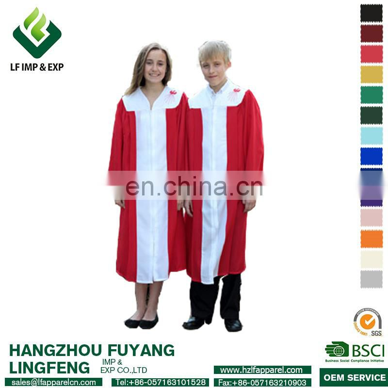 High quality Embroidered Choir Robes In White/Red Colors