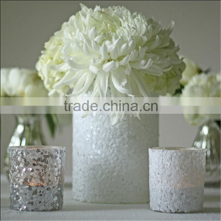 Online / Luxe Frosted White Quilted Vase Votive/Glass Tealight Candle Holder Votive /White Glitter Wedding Decorations
