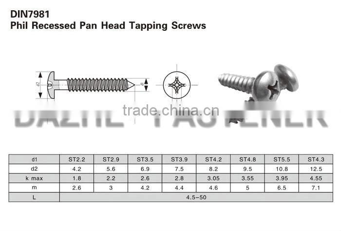 excellent quality phillips din7981 self tapping screws