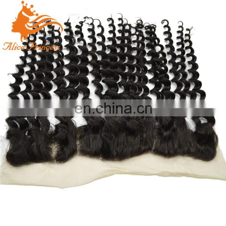 8A virgin Brazilian hair lace frontal closure 13x2 with free shipping curly human hair closure bleached knots