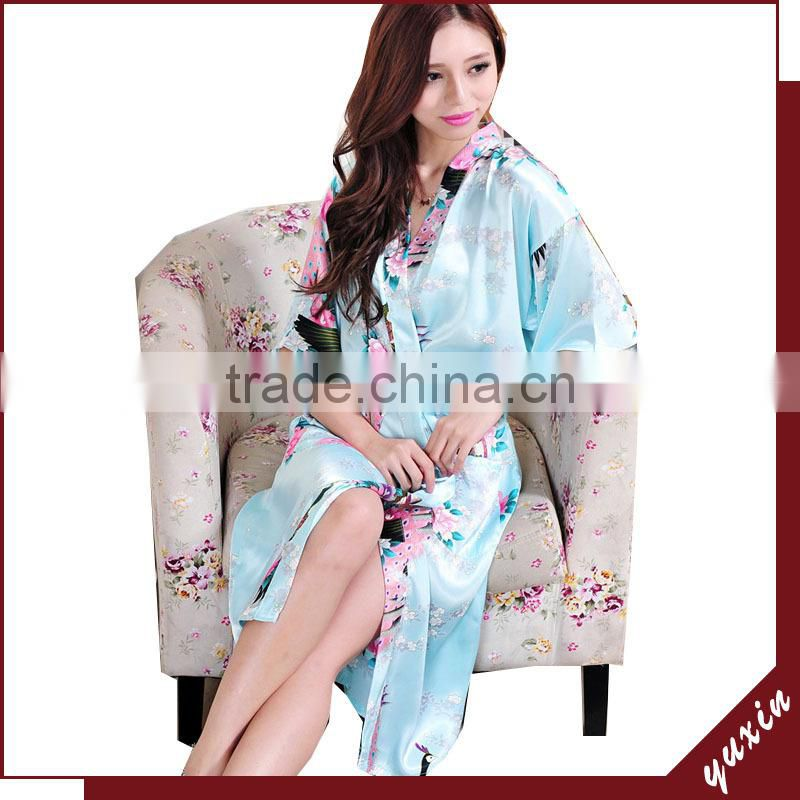 Bridal silk bath robe Custom made women robe Long Nightgown 0609010