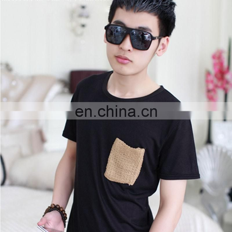2017Peijiaxin Fashion Design Casual Style Plain Woolen Custom Collar Pocket Men Tshirt Pattern