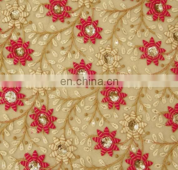Net Floral Embroidered Designer Fabric
